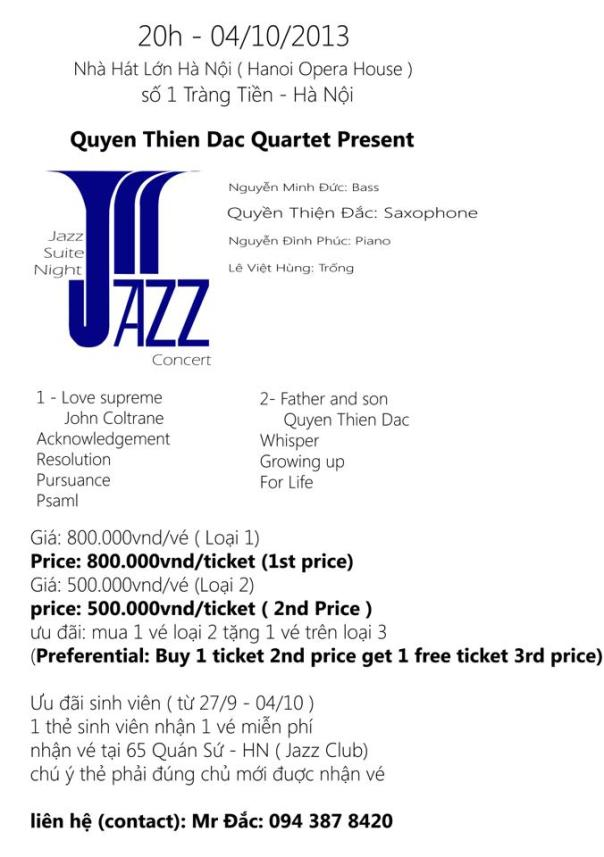 Jazz Suite Night Tu tau Quyen Thien Dac 4.10.2013